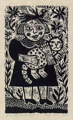 "Barbara Hanrahan (Australian, 1939–1991) - ""Girl, cat, bird"", 1989 - Wood-engraving, printed in black ink, from one block"