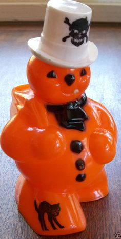 Vintage Halloween Rosbro Plastic Snowman Candy Holder - Black Cat & Skull
