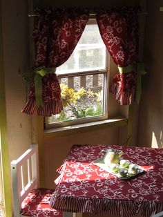 Fabric covered table/chairs for the playhouse - curtains at the windows