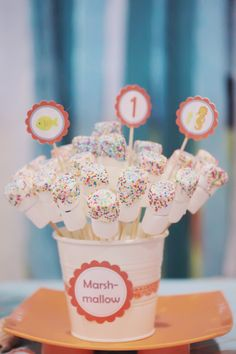 Marshmallow Pop rainbow - such pretty candies only for girl's parties.