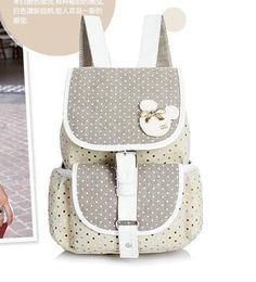 Girl's Fresh Cute Preppy-Style High-Quality Large-Capacity Polka Dot Bunny Print Canvas Backpack 3 Colors
