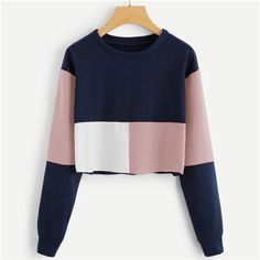 To find out about the Colorblock Crop Sweatshirt at SHEIN, part of our latest Sweatshirts ready to shop online today! Teen Fashion Outfits, Look Fashion, Trendy Outfits, Cute Outfits, Fashion Dresses, Fashion Styles, Fashion Clothes, Style Clothes, Fashion Black