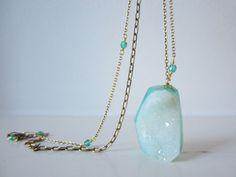 crystal druzy necklace by bird + beau