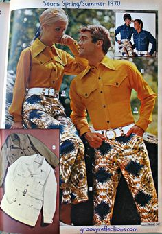 """Dacron polyester western style tops, white belts, and cotton duck """"tie-dye"""" pants; what could be better? Oh yeah, they are for him and her! Sears, 1970."""