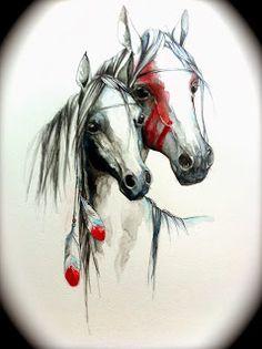 Indian horses Susana Miranda Ilustración