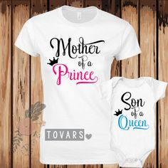 f07a7798e8 Proud Mommy to my Prince Neon Pink Mommy is the Queen- Women s Fitted  Unisex…