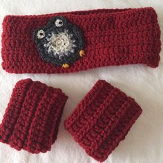 Handmade Owl headband & wristcuffs Dark red Owl crochet headband with wrist cuffs.   Can also be done with a flower, LadyBug or BumbleBee. Handmade Accessories Hair Accessories