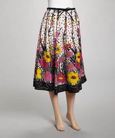 This Black & White Flower Sequin Skirt by Indian Tropical Fashions is perfect! #zulilyfinds