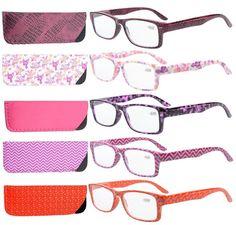 Eyekepper 5-Pack Spring Hinges Patterned Rectangular Reading Glasses Readers Women +3.5: Amazon.co.uk: Health & Personal Care