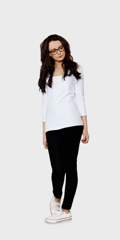 Women's white 3/4 sleeved scoop neck t- shirt | front view| The White T-Shirt Co