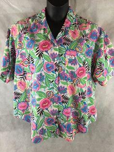 Chic Hawaiian Button Down Short Sleeve Shirt Woman's Shirt Size 22W USA Made #Chic #ButtonDownShirt