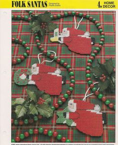 Folk Santas Ornaments Plastic Canvas by needlecraftsupershop, $4.99