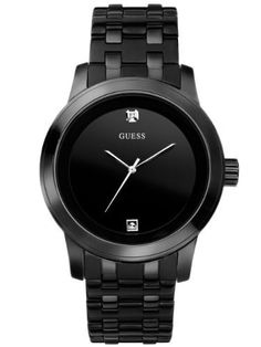 GUESS Round Diamond Watch GUESS. $123.14. Water resistant. 10 year warranty. Mens watch. Black with diamond