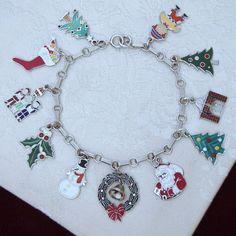 Sterling Christmas Charm Bracelet. Loaded With 11 Colorful Vintage Solid Silver and Enamel Charms, All Hallmarked Sterling