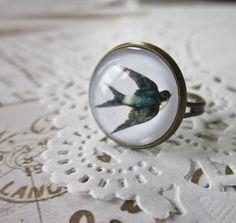 Swallow Cabochon Ring 2 - Rockabilly Vintage Bird. £5.00, via Etsy.