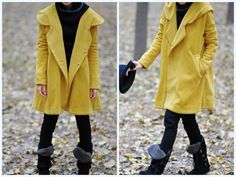 Yellow Hoodie Wool Perfect!!  cape winter coat by MaLieb on Etsy, $109.00