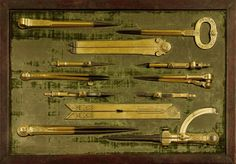 Set of Eight Gilt-Brass and Steel Drawing Instruments signed by Iacobus Lusuerg Faber circa 1683