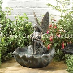 Smart Solar Fairy Leaf Water Fountain Garden Feature 42cm H Design