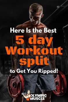 Workout Routine to Get Ripped 5 Day Workout Split, Split Workout Routine, Full Body Workout Plan, Workout Splits, Workout Plan For Men, Weekly Workout Plans, Workout Schedule, Workout Men, Men Workout Routines