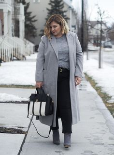 Grey coat, classic winter outfit, Embroidery jeans, plus size fashion, Dorothy Perkins, curvy fashion blogger, over 40 fashion,