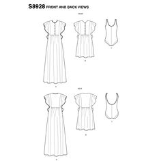 Simplicity Sewing Pattern Misses' Swimsuit and Caftans by Cynthia Rowley Altering Pants, Flat Sketches, Caftan Dress, Simplicity Sewing Patterns, Cynthia Rowley, Pattern Books, Dressmaking, Clothing Patterns, Cool Designs