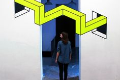 Really digging these terrific pieces of tape art from Aakash Nihalani. She takes bold pieces of black and neon tape and creates these beautiful pieces of art Tape Art, Banksy Graffiti, Illusion 3d, Tape Installation, Art Installations, Instalation Art, Colossal Art, Mixed Media Canvas, Optical Illusions