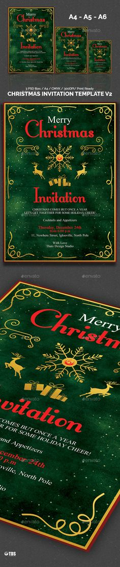 Christmas Invitation Template V6 Christmas invitations - christmas invitation template