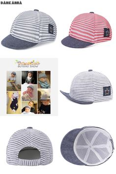 [Visit to Buy] 2017 New Summer Baseball Cap Children Fashion Snapback Hat Hip Hop Hat For Boys Girls Mesh Cap Striped Cotton Unisex Brand Caps #Advertisement