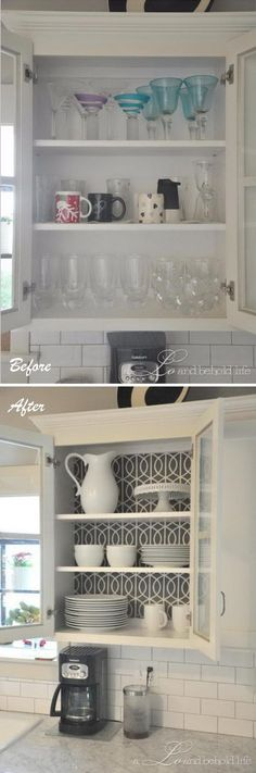 Make a Statement in Your Kitchen by Simply Replacing Backs of a Cabinet. Eyebrow Makeup Tips Kitchen On A Budget, Kitchen Redo, Kitchen Remodel, Kitchen Design, Cheap Kitchen Makeover, Kitchen Ideas, Shaker Kitchen Cabinets, Kitchen Cabinet Styles, Painting Kitchen Cabinets