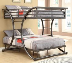 Modern Bunk Beds Metal - Metal bunk beds are made with materials such as steel pipes, metal bars and forgings. These materials will help to give the bed a Contemporary Bunk Beds, Modern Bunk Beds, Metal Bunk Beds, Bunk Beds With Stairs, Cool Bunk Beds, Contemporary Furniture, Modern Bedroom, Contemporary Office, Rustic Furniture