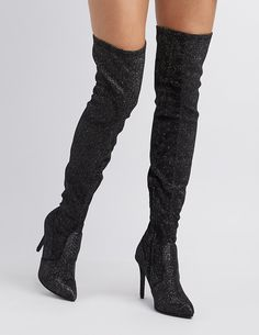 c0afe8364c9 Glitter Pointed Toe Over-The-Knee Boots