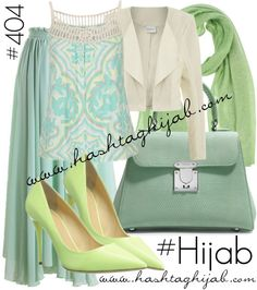 Hashtag Hijab Outfit Different shades of green matched so perfectly with each other. Any more then it would've been too much