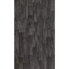 Washington Wallcoverings 56 sq. ft. Black on Black Faux Wood Slats Vinyl…