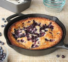 This Lazy Day Blueberry Cobbler is a classic dish. So good, and incredibly easy to make. Serve hot with vanilla ice cream. Cast Iron Skillet Cooking, Iron Skillet Recipes, Cast Iron Recipes, Blueberry Cobbler Recipes, Fruit Recipes, Dessert Recipes, Pie Recipes, Easy Blueberry Desserts, Eggless Desserts