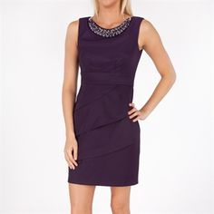 Connected Apparel Tiered Woven Sheath Dress with Beaded Neckline vm
