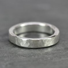 Hammered Silver Ring, 4.5mm Wide, Hand Forged, Matte Finish, Recycled Metal, Eco Friendly, Sea Babe Jewelry This ring works well for a wide variety of uses. It can be for a man or woman, young or old. It can be a perfect everyday ring for yourself, a gift for a special occasion, or
