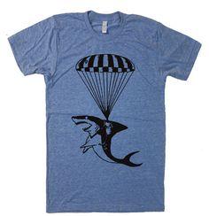 Mens Shark Paratrooper T Shirt - American Apparel Tshirt - XS S M L Xl and Xxl (28 Color Options) $20.00 USD