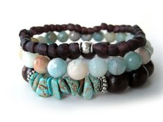 Don't you just love the beautiful blue, aquamarine, turquoise and eggplant colors in this Bohemian bracelet set? OOAK jewelry handmade by Rock & Hardware Jewelry.