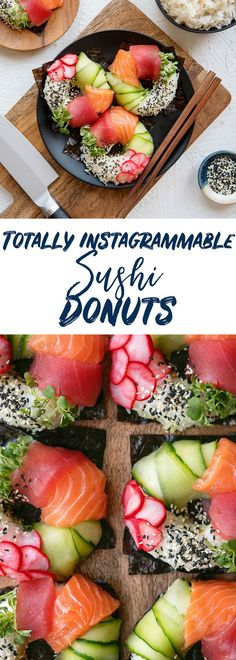 How to Make Sushi Donuts Recipe - Food Trends Seafood Recipes, Gourmet Recipes, Vegetarian Recipes, Sushi Donuts, Doughnuts, Cinnamon Health Benefits, How To Make Sushi, Food Instagram, Healthy Crockpot Recipes