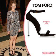 Jennifer Lawrence in Tom Ford Black Suede Ankle-Strap Sandals - ShoeRazzi