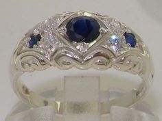 Genuine Deep Blue Sapphire & Diamond Solid 925 Sterling Silver Vintage Commitment Band Ring - Made in England - Customize:9K,14K,18K Gold