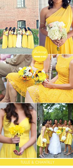 spring summer bright yellow buttercup bridesmaid dresses inspiration 2016