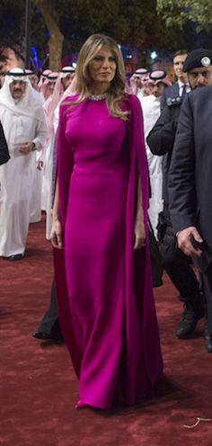 5/20/17 Melania in Saudi Arabia  wearing raspberry gown by Reem Acra. +