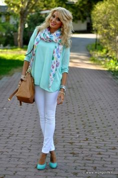 Mint and white jeans