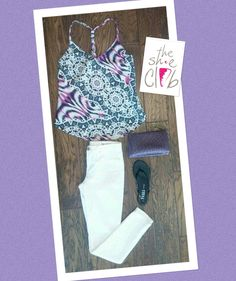 Now this is my idea of a Stylish Summer Outfit Charlie Jade Top $108 Blank NYC Skinny Jeans $88 Purple Clutch $40 TKEES Black $52 ☎️ 210-824-9988