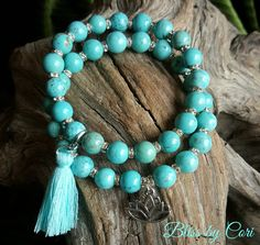 Turquoise Beaded Stretch Bracelet Duo with Tassel & Lotus Charm  *FREE SHIPPING* by BlissbyCori on Etsy $50.00