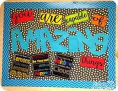 This would be great for hallway, by the front office, in the school library, or in the cafeteria. Motivational and great to keep up all year long. (Top For Teens For School) Counseling Bulletin Boards, Classroom Bulletin Boards, School Classroom, Classroom Themes, Classroom Organization, Preschool Bulletin, Bulletin Board Ideas For Teachers, August Bulletin Boards, Staff Bulletin Boards
