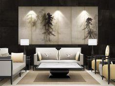 Chinese Interior, Asian Interior, Modern Interior Design, Modern Decor, Interior And Exterior, Living Room Modern, Living Room Interior, Zen Place, Modern Asian
