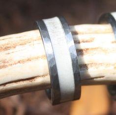 Tungsten Deer Antler Wedding Ring with Gun Metal Grey Hammered Edge - – Antler Rings