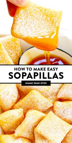 This restaurant-style sopapilla recipe is easy to make at home with pantry ingredients and always a crowd fave. Desserts To Make, Delicious Desserts, Yummy Food, Healthy Desserts, Easy Sopapillas Recipe, Mexican Dessert Recipes, Mexican Donuts Recipe, Dessert Ideas, Deserts
